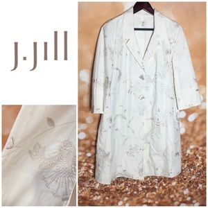 J Jill Cotton Embroidered Long Cream Jacket Small